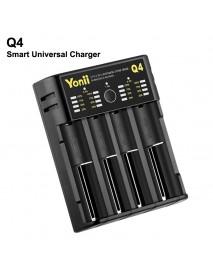 Q4 4-Slot Smart Universal Charger for Li-ion/Ni-MH/Ni-CD Batteries - Black