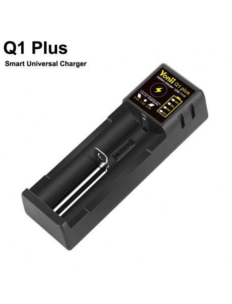 Q1 Plus Smart Universal Charger with 1-Slot for Li-ion/Ni-MH/Ni-CD Batteries - Black (1 PC)