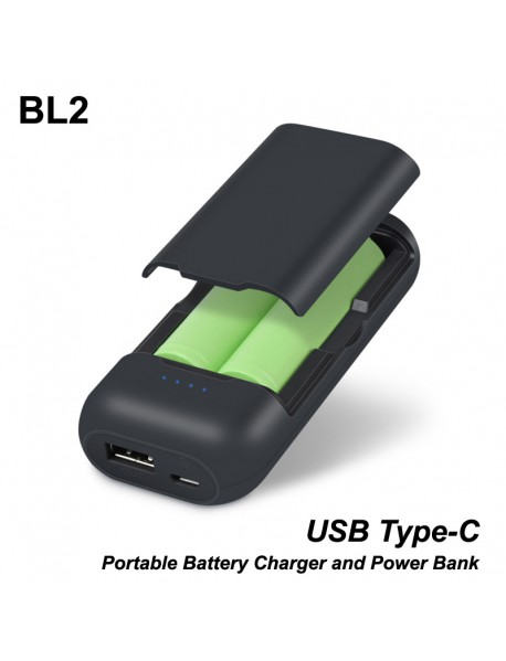 BL2 2 x 18650 Type-c Portable Battery Charger and Power Bank - Black (1 PC)