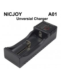 NICJOY A01 Smart Universial Charger with 1-Slot for Li-ion/LiFePO/Ni-MH/Ni-CD   Batteries - Black
