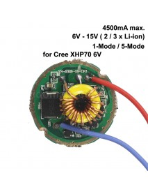 26mm 6V - 15V 2/3 x Li-ion 4500mA Driver Board for Cree XHP70 6V