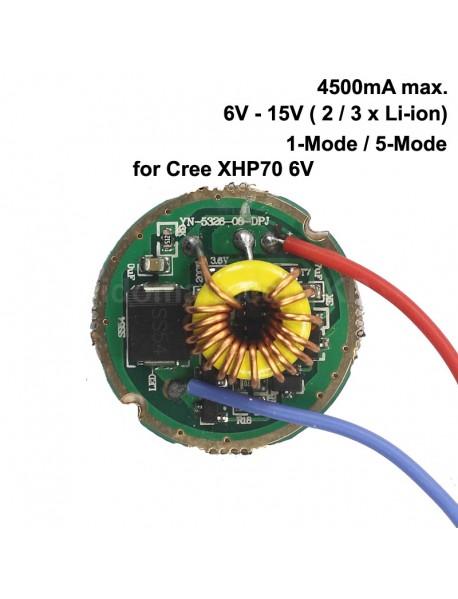 26mm 6V - 15V 2/3 x Li-ion 4500mA Driver Board for Cree XHP70 6V