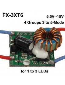 FX-3XT6 25mm 2A 5.5V - 16V 4 Groups 3 to 5-Mode Buck Driver Circuit Board for 1 to 3 LEDs (1 pc)