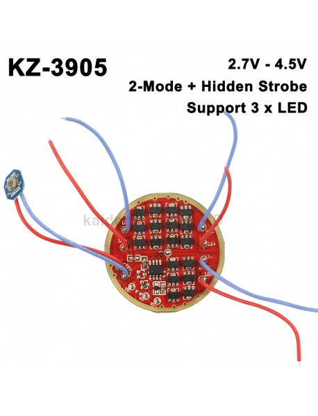 KZ-3905 46mm AMC7135 Triple Output LED 1-Cell 3-Mode Driver Board (1 pc)
