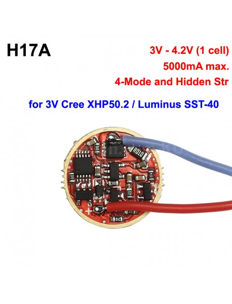 H17A 17mm 3V - 4.2V 5A 1 cell 5-Mode Driver Circuit Board for Cree 3V XHP50.2 / Luminus SST-40 LED