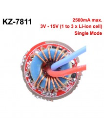 KZ-7811 17mm 2500mA 3V - 15V 1 to 3-cell 1-Mode Driver Board (1 pc)
