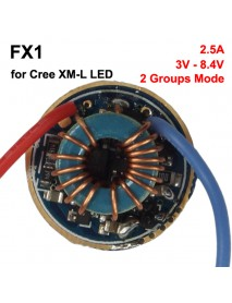 FX1 20mm 3V - 8.4V 2.5A 1 cell or 2 cells 2 Group of 3 Mode and 5 Mode Driver Circuit Board for Cree XM-L (1 pc)