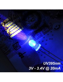 F5mm 3V - 3.4V 20mA UV395nm LED Diodes (10 pcs)