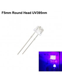 F5mm 3V - 3.4V 20mA UV395nm Round Head LED Diodes (10 pcs)