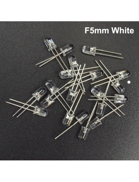 F5mm 3V - 3.2V 20mA Round Head White LED Light Emitting Diodes (20 pcs)