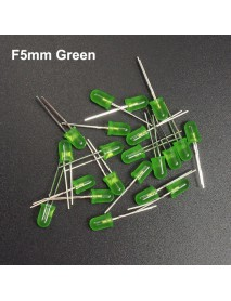 F5mm 3V - 3.2V 20mA Round Head Green LED Light Emitting Diodes (20 pcs)