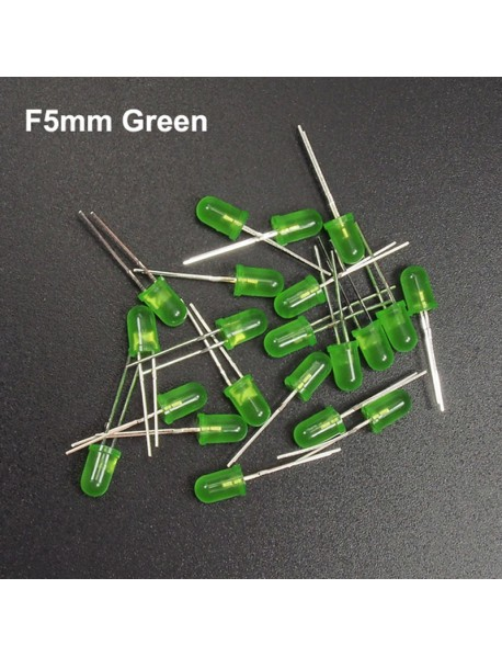 F5mm 3V - 3.2V 20mA Round Head Green LED Light Emitting Diodes (20 pcs)
