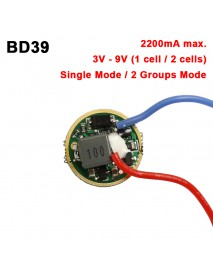BD39 17mm 2.2A 3V - 9V 1 cell or 2 cells 2 Groups 4 to 6-Mode Buck Driver Circuit Board (1 pc)