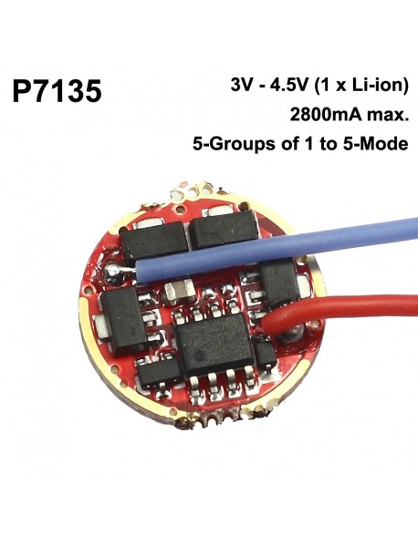 P7135 17mm 1-Cell 2800mA 5-Groups of 1 to 5-Mode Flashlight Driver Board (1 pc)