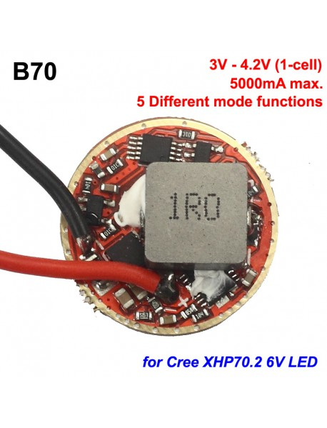 B70 22mm 5000mA 3V - 4.2V 1-cell 5-Mode Boost Driver Board for Cree XHP70 6V
