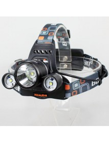BORUIT RJ-3001 3 x Cree XM-L T6 4-Mode 3000 Lumens Headlamp with Plug Charger (2 x 18650)