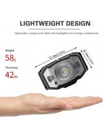 Boruit B33 XP-G2 + 2 x 3030 Red Light 5-Mode Motion IR Sensor Zoomable USB Rechargeable LED Headlamp