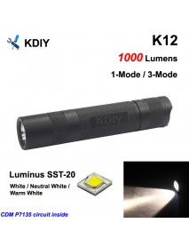 KDIY K12 SST-20 1000 Lumens LED Flashlight - Black ( 1x18650 )