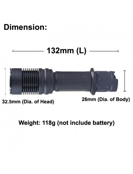 KDIY KF8 Luminus SST-40 1600 Lumens 6-Mode LED Flashlight - Grey ( 1 x 18650 )