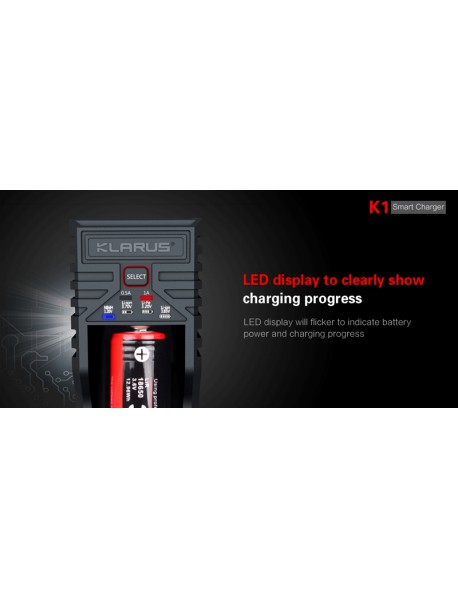 KLARUS K1 Smart Battery Charger for 25500 / 26650 / 18650 / 18490 / 18350 / 17670 / 14500 / 16340 Battery