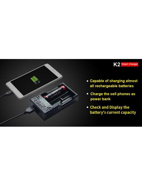 KLARUS K2 Smart Battery Charger for 26650 / 18650 / 18490 / 18350 / 17670 /17500 / 14500 / 16340  / 10440 Battery