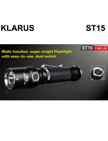 KLARUS ST15 CREE XP-L HI V3 LED 1100 Lumens 6-Mode LED Flashlight (1 x 18650 / 2 x CR123A)