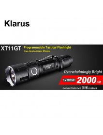 KLARUS XT11GT CREE XHP35 HD E4 2000 Lumens 6-Modes Rechargeable LED Flashlight - Black ( 1x18650/2xCR123A )