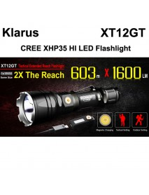 KLARUS XT12GT CREE LED XHP35 HI D4 1600 Lumens 6-Mode Rechargeable LED Flashlight - Black ( 1x18650/2xCR123A )