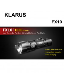 KLARUS FX10 CREE XP-L HI V3 LED 1000 Lumens 2-Modes LED Flashlight(1 x 18650/2 x CR123A/2 x Klarus 16340)