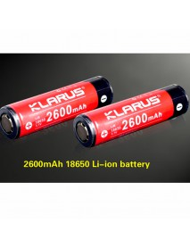 KLARUS 18650 2600mAh 3.7V Rechargeable 18650 Battery - 1pc