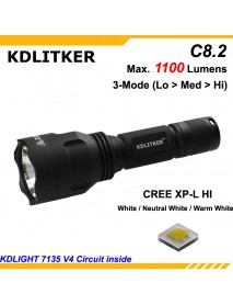 KDLITKER C8.2 Cree XP-L HI 1100 Lumens 3-Mode LED Flashlight - Black ( 1x18650 )