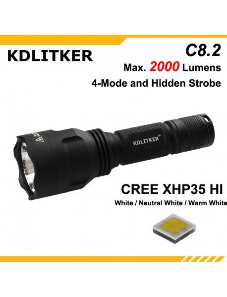 KDLITKER C8.2 Cree XHP35 HI 2000 Lumens 5-Mode LED Flashlight - Black ( 1x18650 )