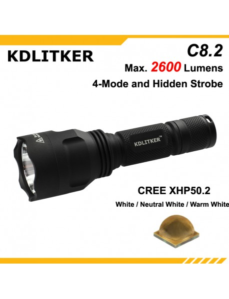 KDLITKER C8.2 Cree XHP50.2 2600 Lumens 5-Mode LED Flashlight - Black ( 1x18650 )