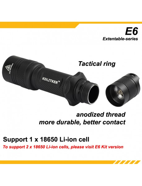 KDLITKER E6 / E6S Flashlight Shell - Black