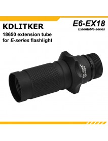 KDLITKER EX18 Flashlight 18650 Extension Tube for KDLITKER E6 Flashlight - Black