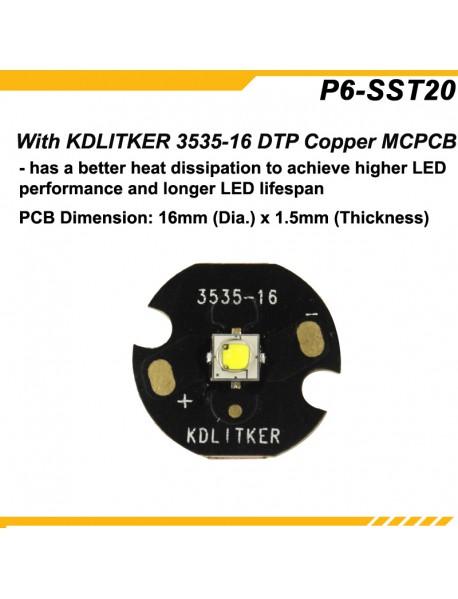 KDLITKER P6-SST20 Luminus SST-20 700 Lumens 3V - 9V P60 Drop-in (Dia. 26.5mm)