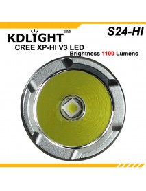 KDLITKER S24-HI Cree XP-L 1100 Lumens 3-Mode LED Flashlight - Silver Grey (1x18650)
