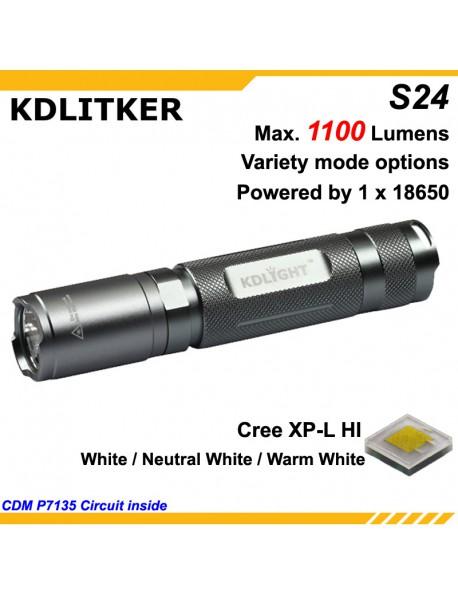 KDLITKER S24-HI Cree XP-L 1100 Lumens LED Flashlight - Silver Grey (1x18650)