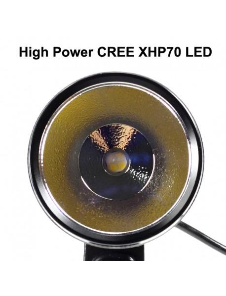 KDLITKER BL70s Cree XHP70.2 3000 Lumens 4-Mode LED Bike Light - Black ( 1 pc )