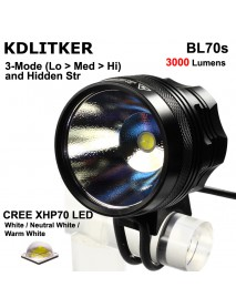 KDLITKER BL70s Cree XHP70.2 3000 Lumens 4-Mode LED Bike Light - Black ( 1 pc )