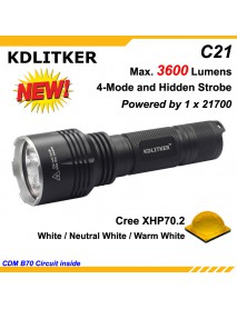 KDLITKER C21 Cree XHP70.2 3600 Lumens 5-Mode LED Flashlight - Black ( 1x21700 )