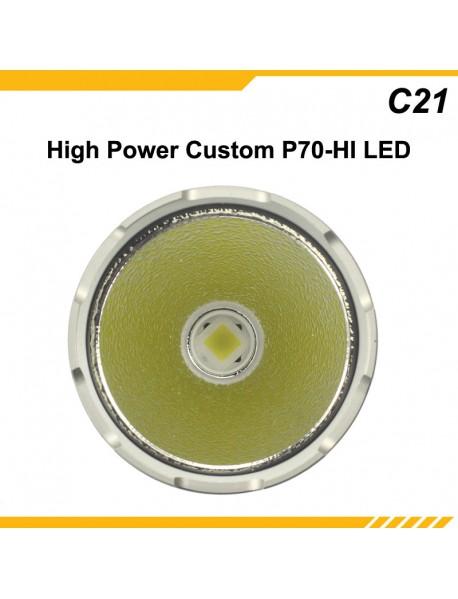 KDLITKER C21 P70-HI 3600 Lumens 5-Mode Long Range Hunting LED Flashlight - Black ( 1x21700 )