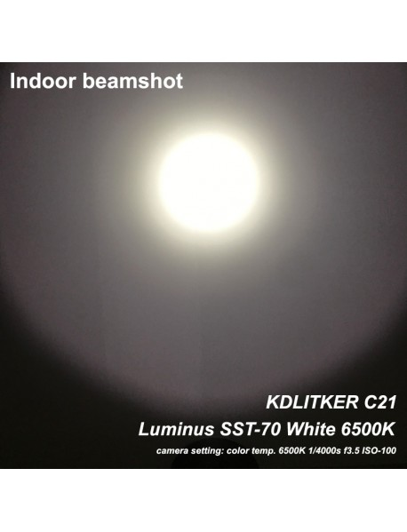 KDLITKER C21 Luminus SST-70 3000 Lumens 5-Mode LED Flashlight - Black ( 1x21700 )