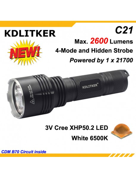 KDLITKER C21 3V Cree XHP50.2 2600 Lumens 5-Mode LED Flashlight - Black ( 1x21700 )