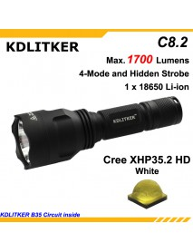 2020 Newest KDLITKER C8.2 Cree XHP35.2 HD 1700 Lumens 5-Mode LED Flashlight - Black ( 1x18650 )