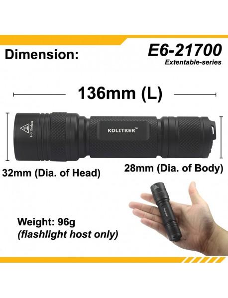 KDLITKER E6(21700) P60 Flashlight Host - Black