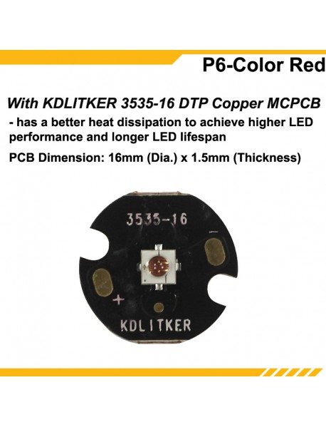 KDLITKER P6-COLOR Luminus SST-10-R Red 620nm 600 Lumens 3V - 9V 1-Mode OP P60 Drop-in