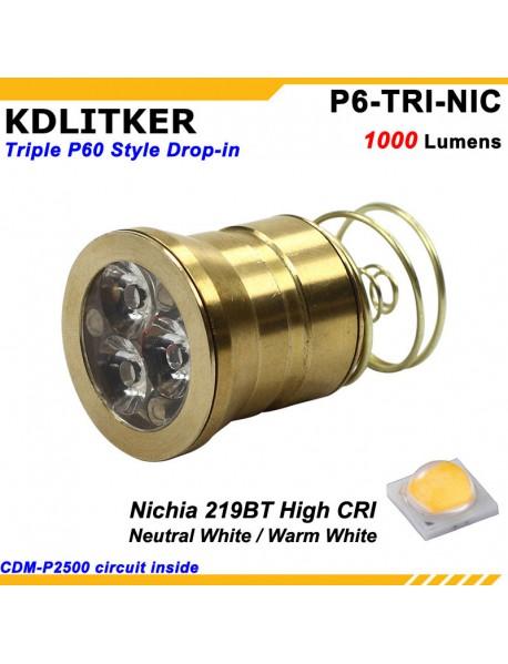 KDLITKER Triple Nichia 219BT 1000 Lumens High CRI LED Drop-in Module (Dia. 26.5mm)