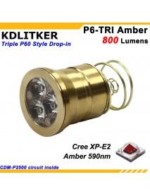 KDLITKER Triple Cree XP-E2 Amber 590nm 800 Lumens Jade Detection Light LED Drop-in Module (Dia. 26.5mm)