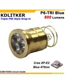 KDLITKER Triple Cree XP-E2 Blue 470nm 800 Lumens Fishing LED Drop-in Module (Dia. 26.5mm)